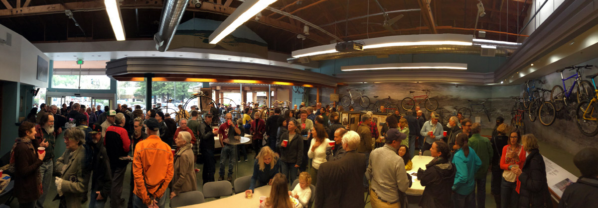 A panoroma of the inside of the Marin Museum of Bicycling taken during the Meet the Pioneers fundraiser event.