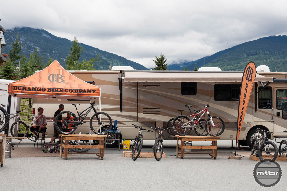 The Durango Bike Company definitely won the award for best demo display. Their lodging situation was also dialed. Photo by Norma Ibarra