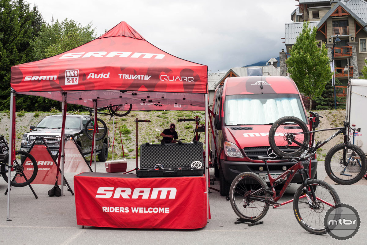 SRAM was in the house showing off its latest drivetrain goods, and helping keep the demo bikes running smooth. Photo by Norma Ibarra