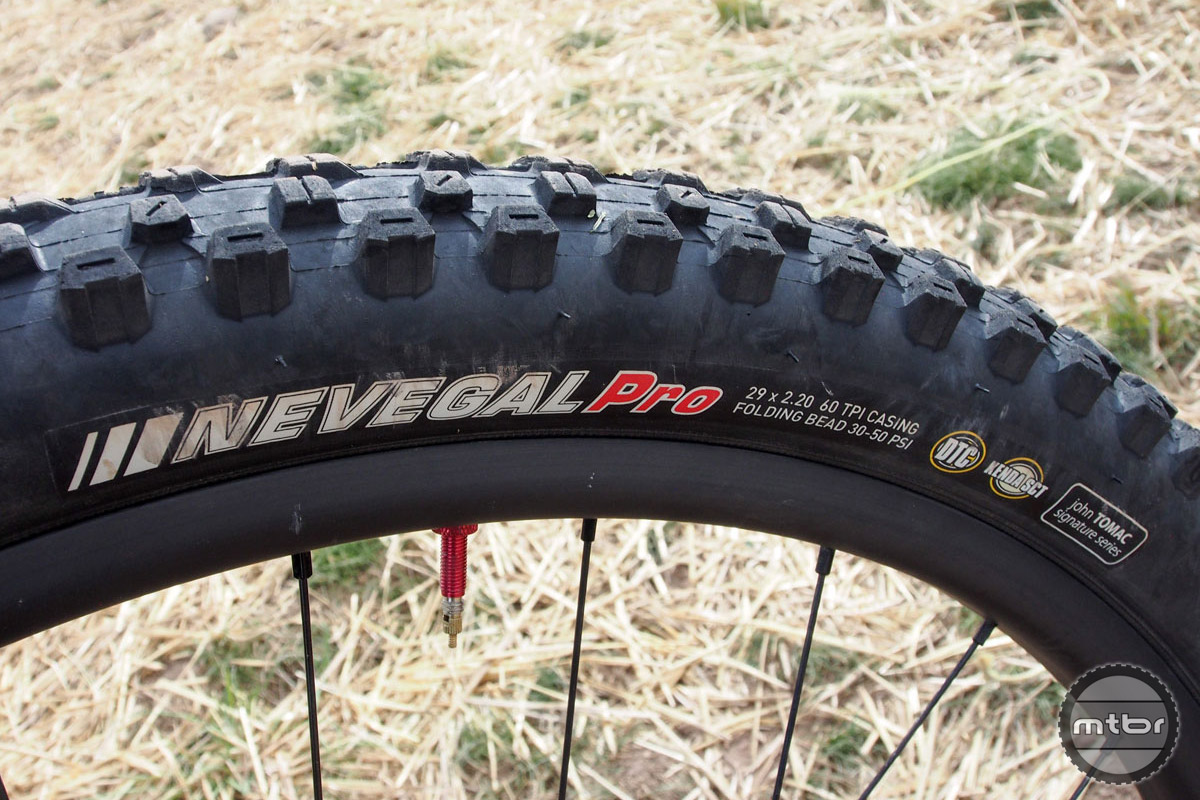 "Broderick and his partner/teammate Mary McConneloug have a long running relationship with Kenda Tires. In Colorado, he was running 29x2.2"" Nevegal Pros wrapped around Stan's NoTubes Bravo wheels."