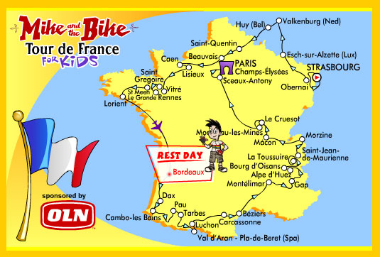 Map Of France For Children.Mike And The Bike Delivers Tour De France To Children Mtbr Com
