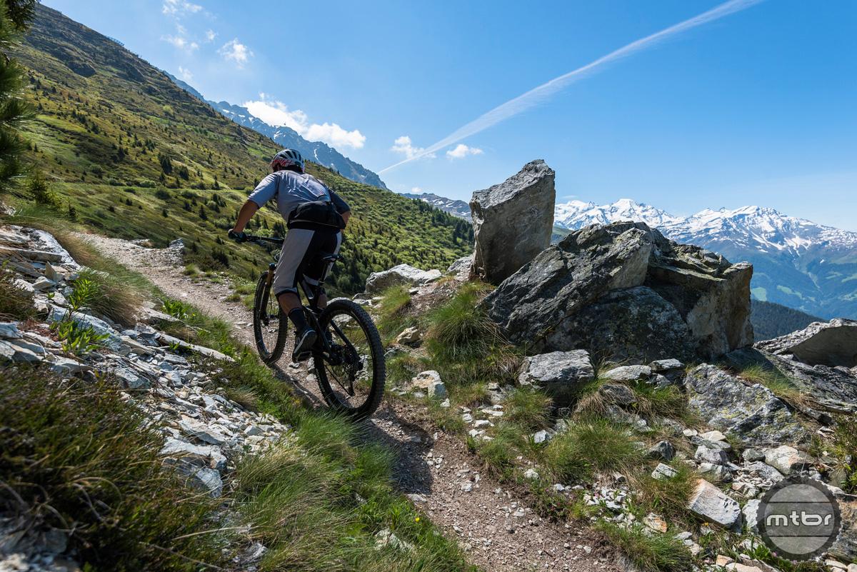 Trek Re:aktiv Thru Shaft on Fuel EX 29er climbing in Verbier, Switzerland with great traction.
