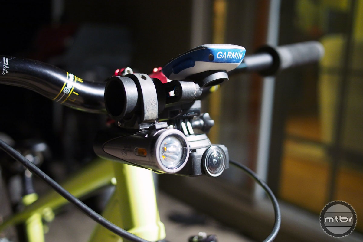 The Morsa mount with a light, camera and Garmin.