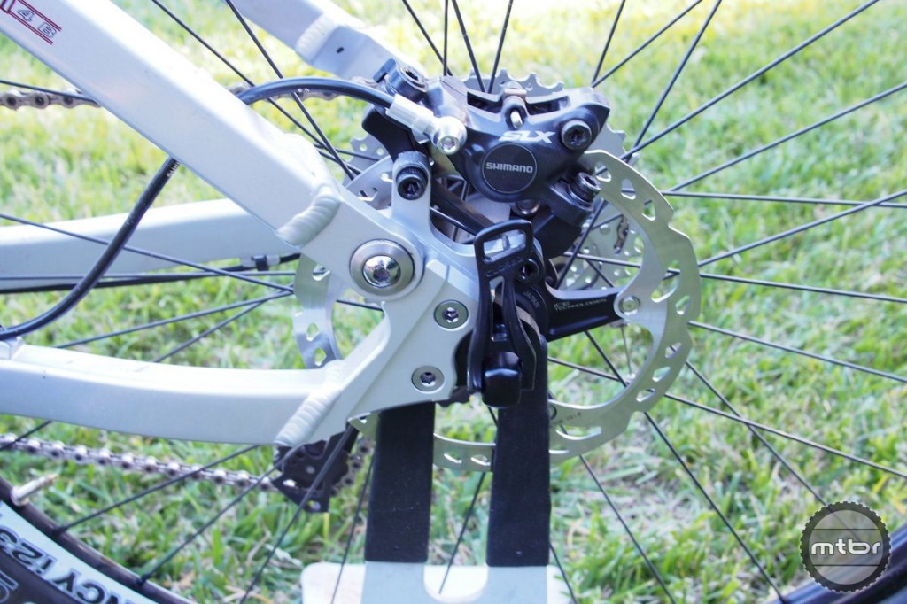 Brakes are dialed with the Shimano SLX. These brakes have high end performance and reliability and are on par or better than much more expensive brakes.