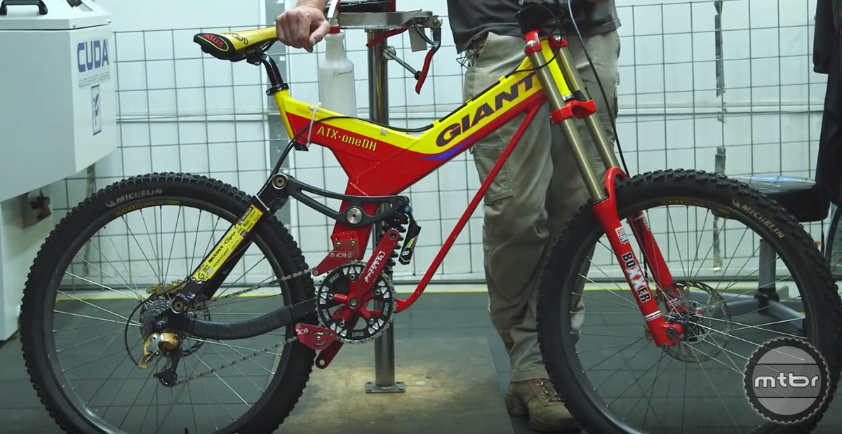 The bike was an 8-inch trail tamer with a short rear end.