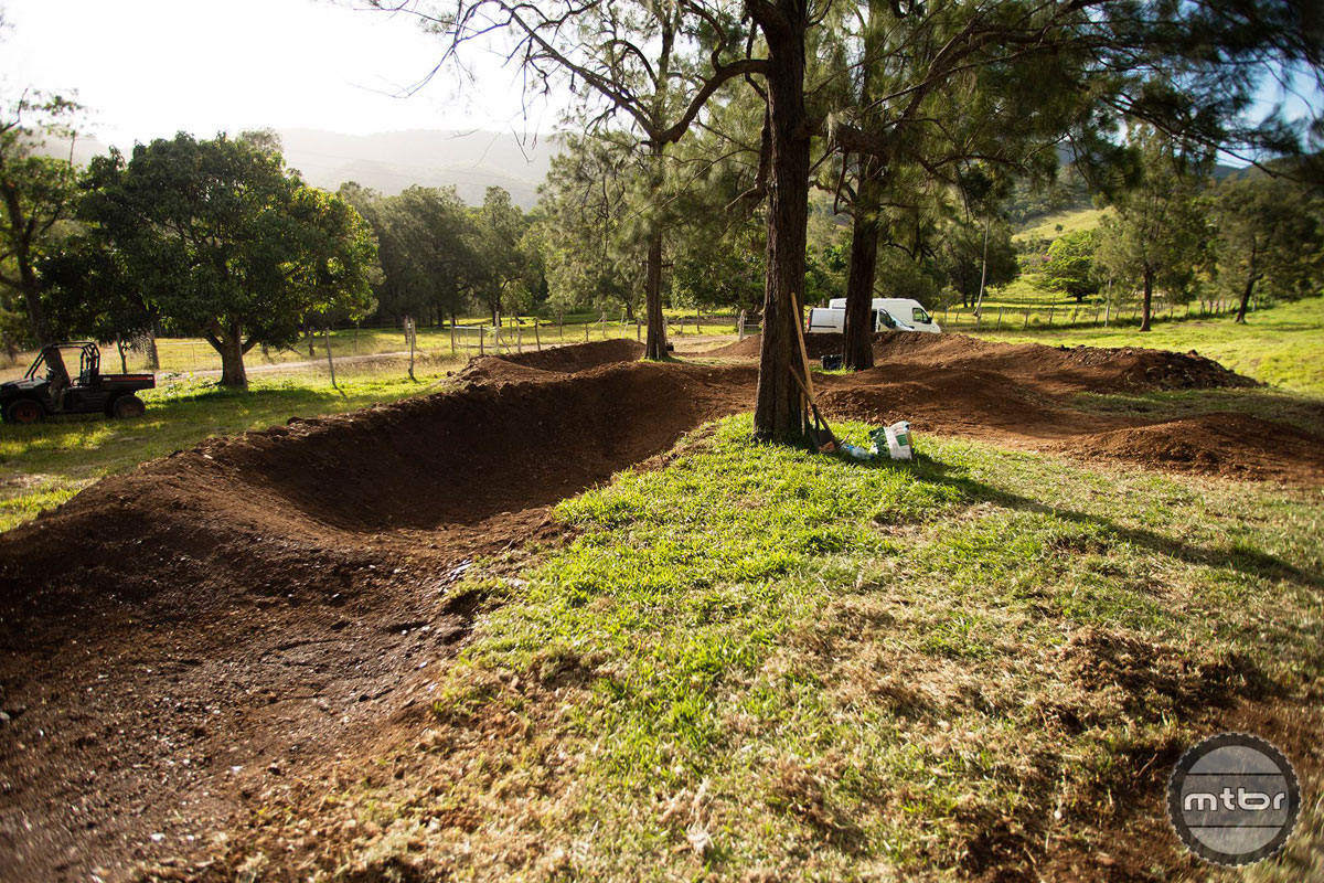 Building a pump track in New Caledonia. Photo courtesy of Commencal