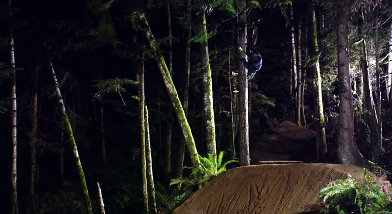 Brett Rheeder pulls of this carefully planned (and captured) night flip.