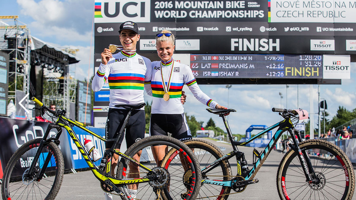 Schurter wasn't the only Scott bikes rider to capture rainbow stripes in the Czech Republic. Swede Jenny Rissveds took the crown in the women's under-23 race.