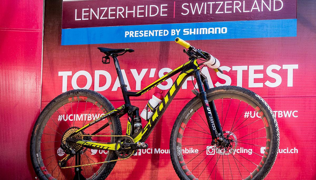Schurter's world's winning bike, the new Scott Spark RC 29er.