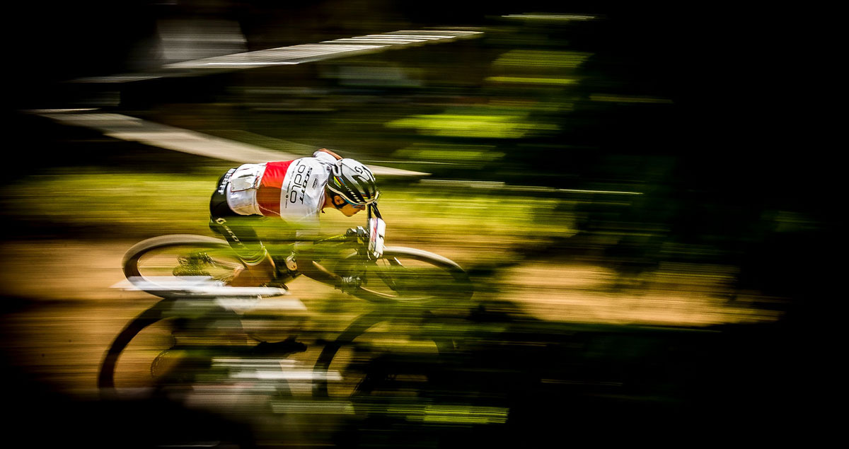 Schurter was a blur of speed in the forest.
