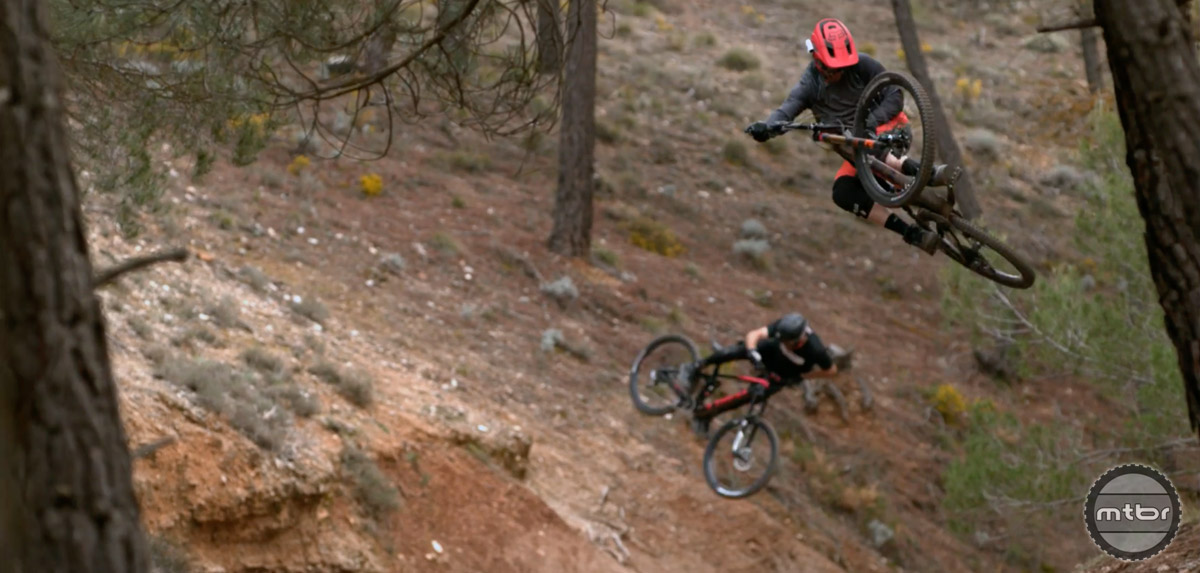 There's nothing better than a simultaneous jump between two buddies on a natural trail.