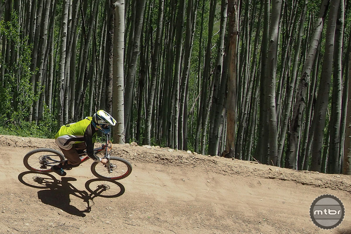 Evolution Bike Park's intermediate rated Teaser Trail has a flowy mix of high wall berms and manageable table top jumps.