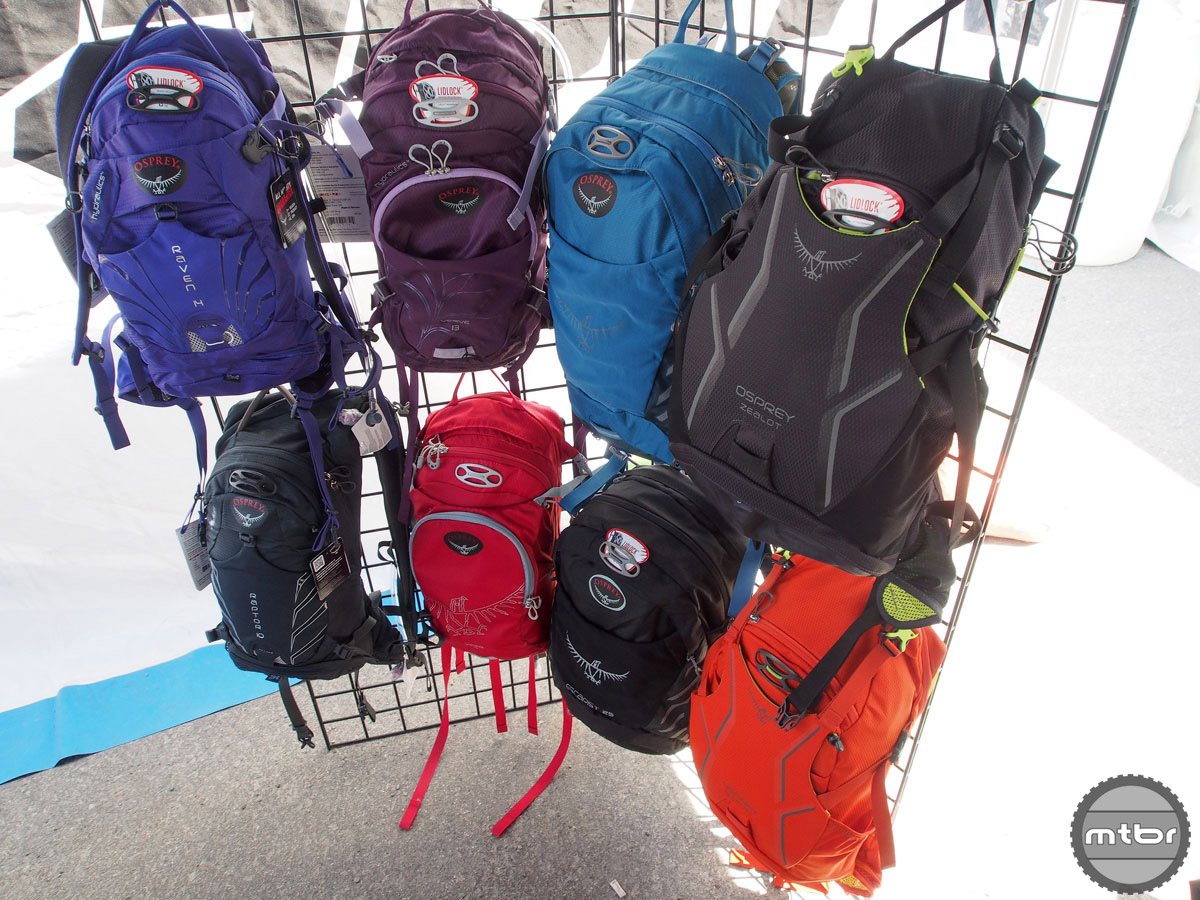 Osprey makes both men's, women's and enduro specific hydration packs. The new models have an easy-to-access tool role with its own pocket and bladders that have a rigid backing and a handle so they are easy to fill and dont barrel around inside the pack.