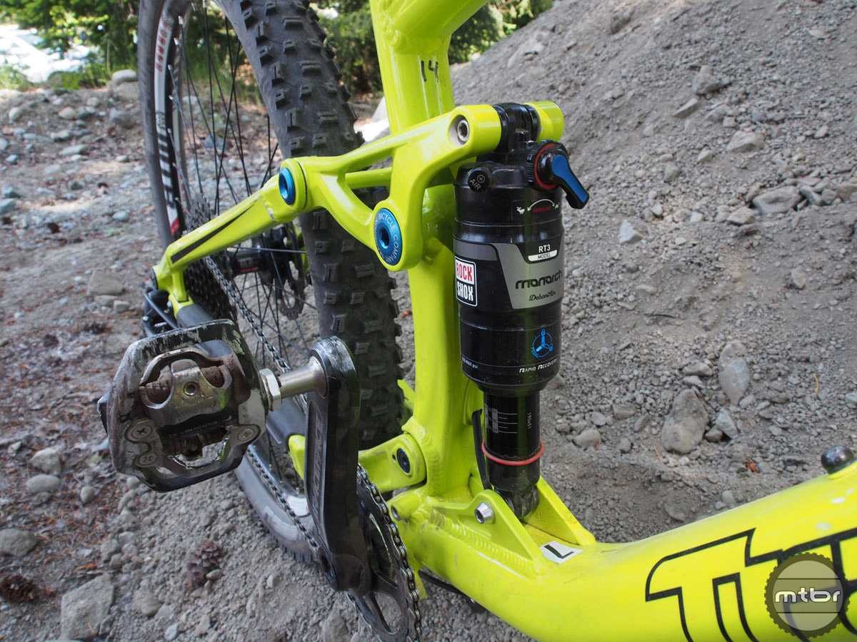 "Transition uses what it calls Giddy Up suspension on all its trail bikes. That's a tongue-in-cheek reference to the common ""Horse-Link"" slip-up people often make. It's Horst-Link of course, and it's a proven and reliable design."