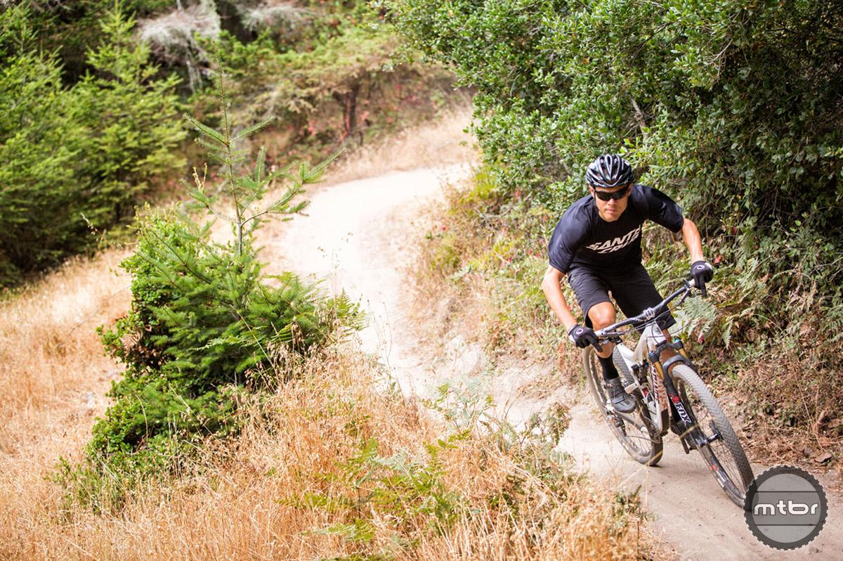 Pro endurance rider Josh Tostado on the Emma McCrary Trail in Santa Cruz, CA. Photo by Mike Thomas/SCB.