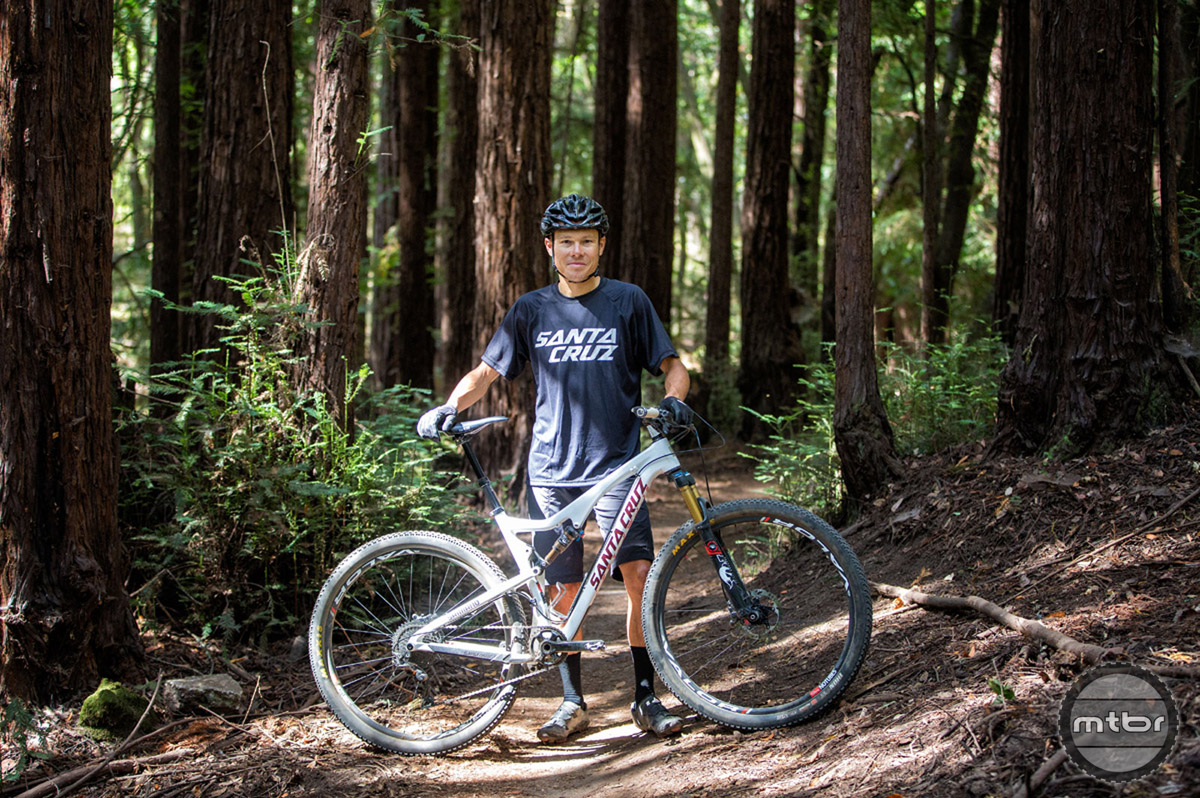 Pro endurance rider Josh Tostado with his Tallboy in Santa Cruz. Photo by Mike Thomas/SBC