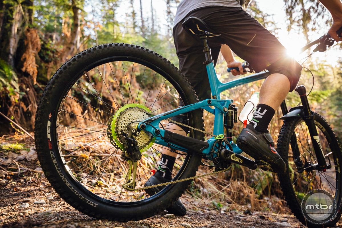 OneUp is calling the new Shark system the widest range 11-speed 1x system ever thanks to a whopping 500% gear range.