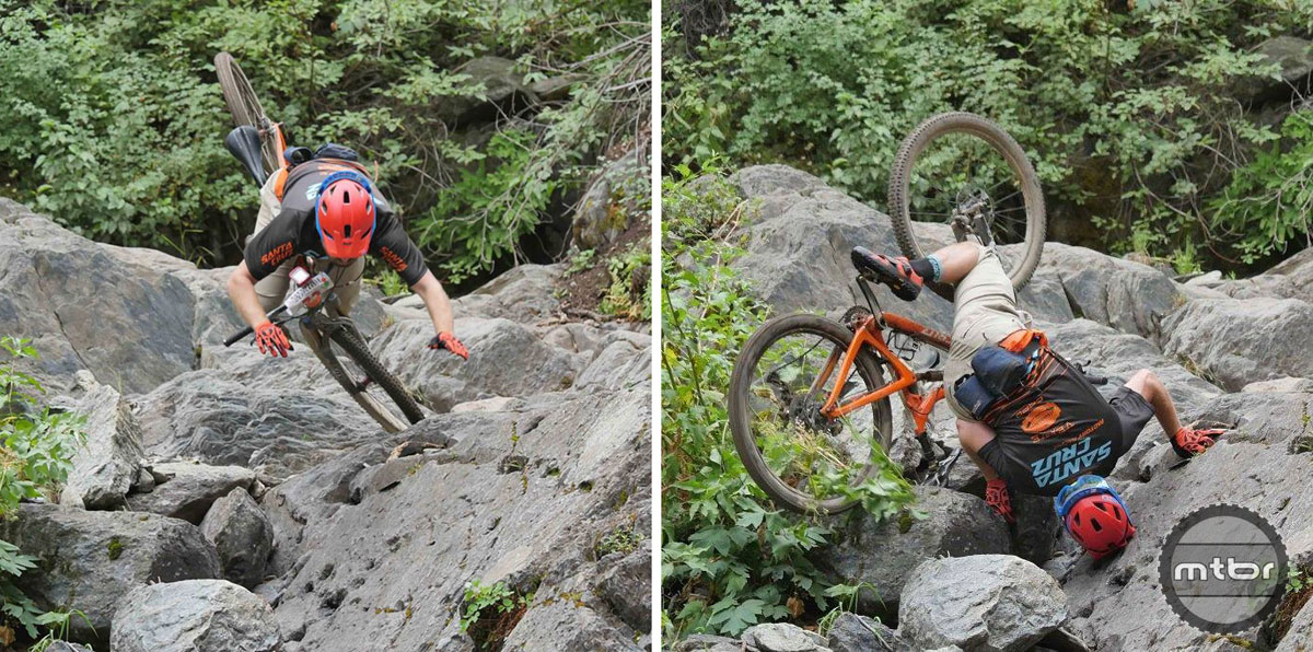 A failed attempt (right) taking the right line down the waterfall on Butcher Ranch. Touchdown (left). Photo by Brian Rapheal – Coldstream Creative