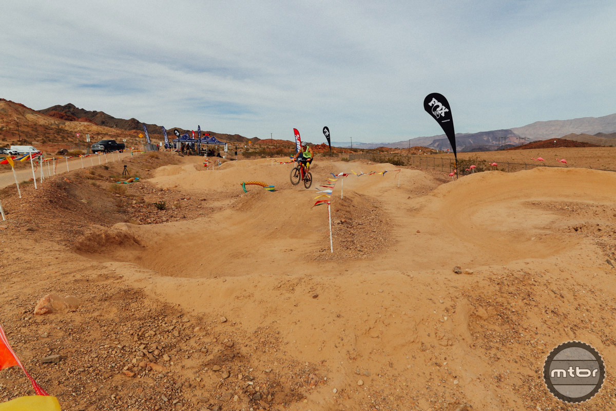 In addition to the sketchy trails, you can also spin laps around the pump track.