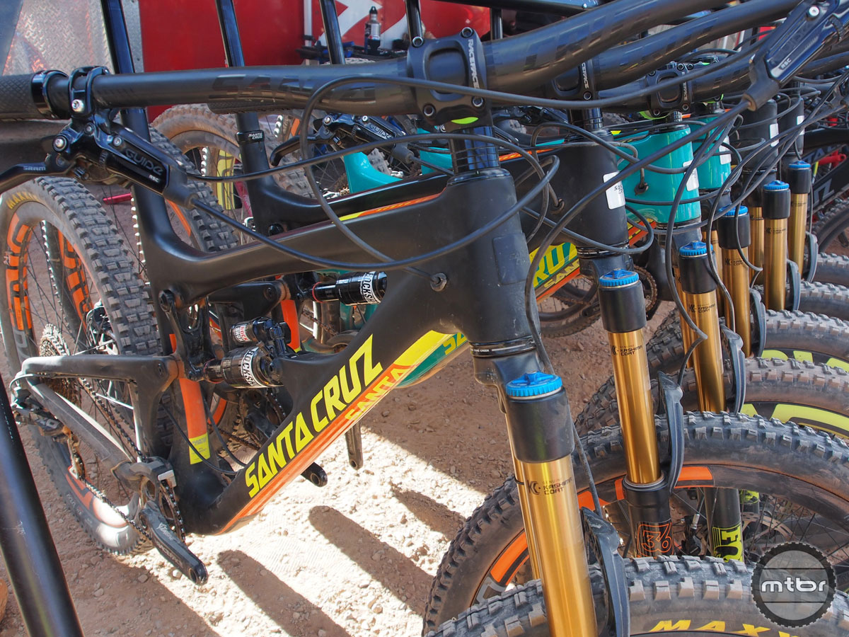 Santa Cruz brought a huge fleet of top-tier trail bikes complete with carbon frames, internal cable routing, Fox 36 forks, SRAM Guide brakes and ENVE carbon wheels.