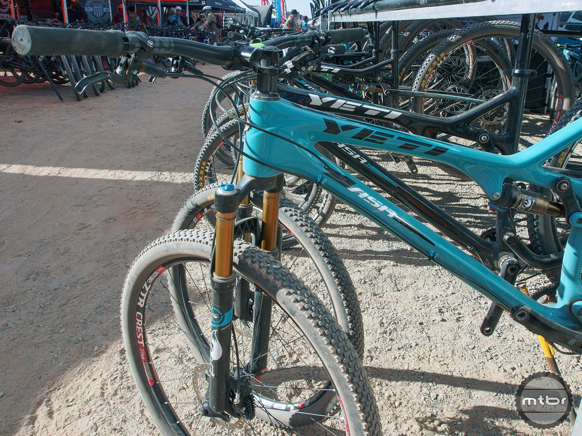 The Yeti rack was usually cleaned out save for a handful of XC-oriented bikes.