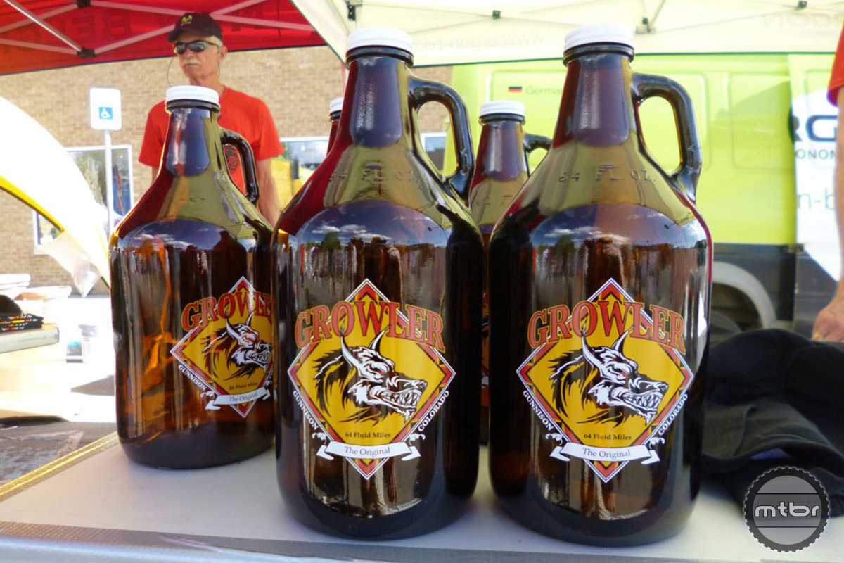 The inspiration for this race: the 64-ounce beer growler.