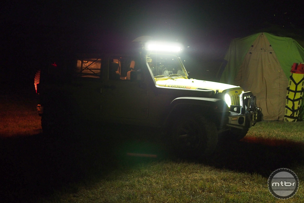 This jeep is fully decked out with lights and snorkel.
