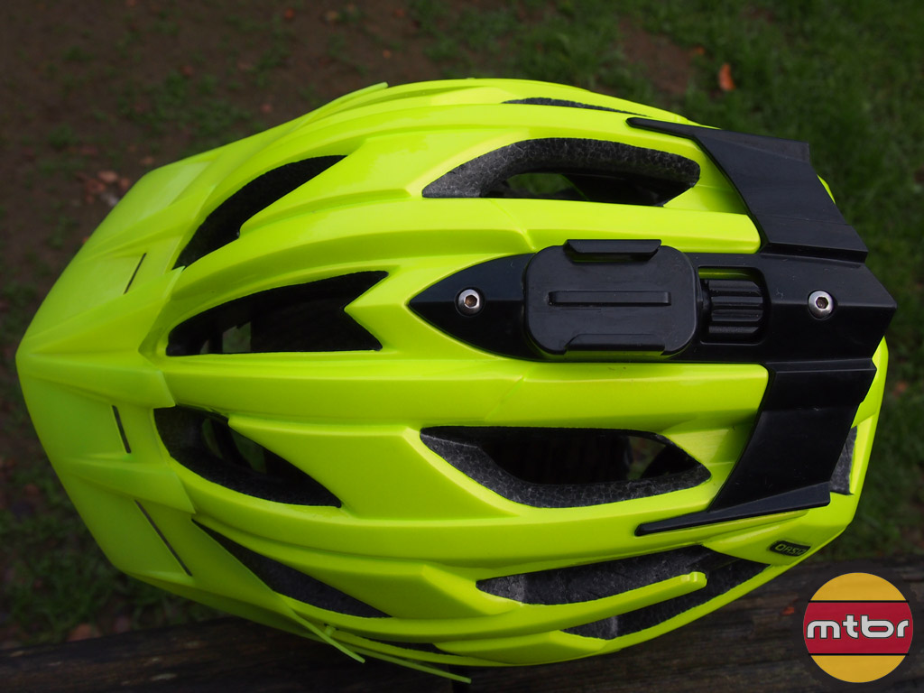 Lazer Oasiz helmet - flash yellow w/GoPro mount top view