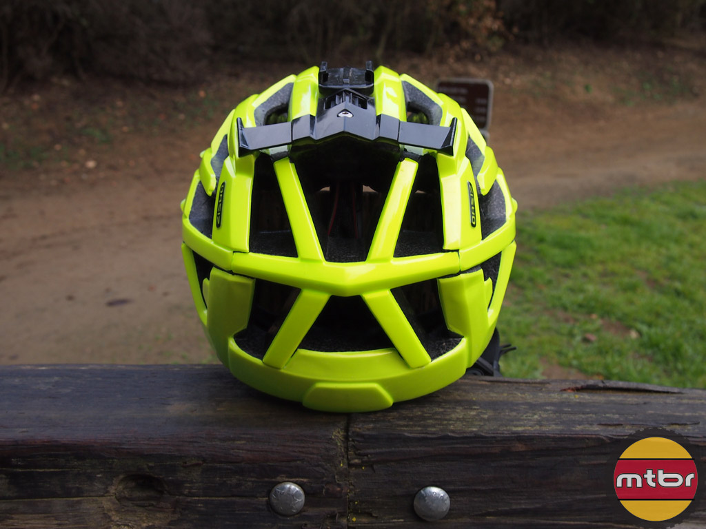 Lazer Oasiz helmet - flash yellow w/GoPro mount back view
