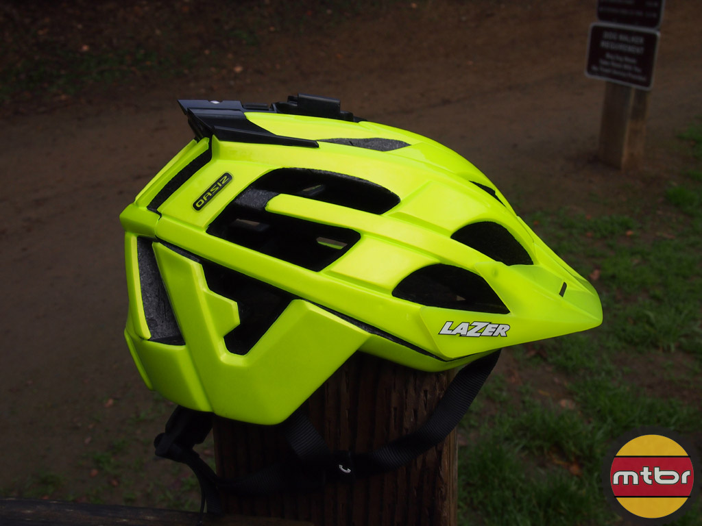 Lazer Oasiz helmet - flash yellow w/GoPro mount right side view