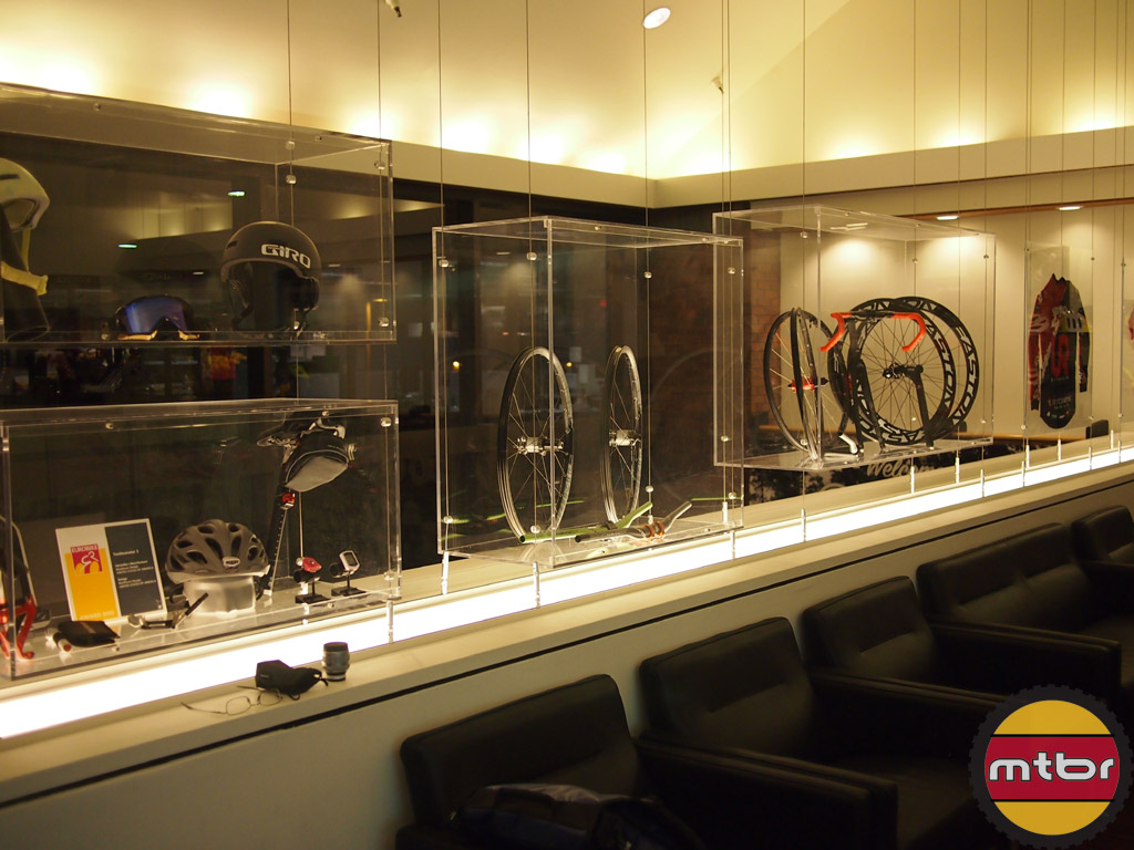 Upper lobby products on display.