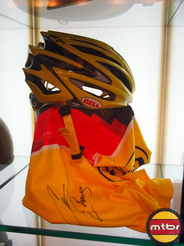 Cadel Evans autographed helmet and jersey