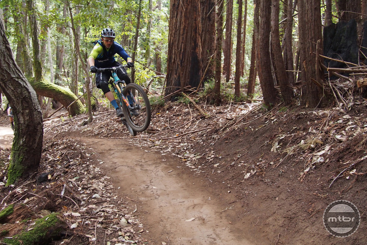 Joe Lawwill of Shimano thunders down the trail.