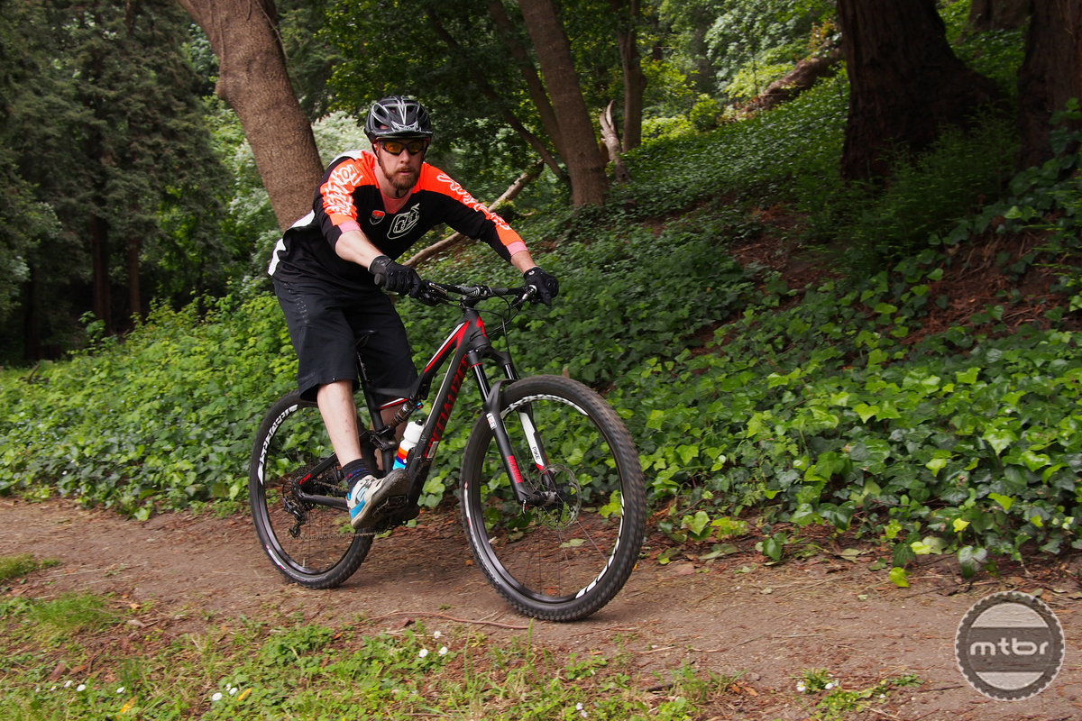 Our test rider John Bennett enjoyed the shorter chainstays and wheelbase of the Stumpjumper