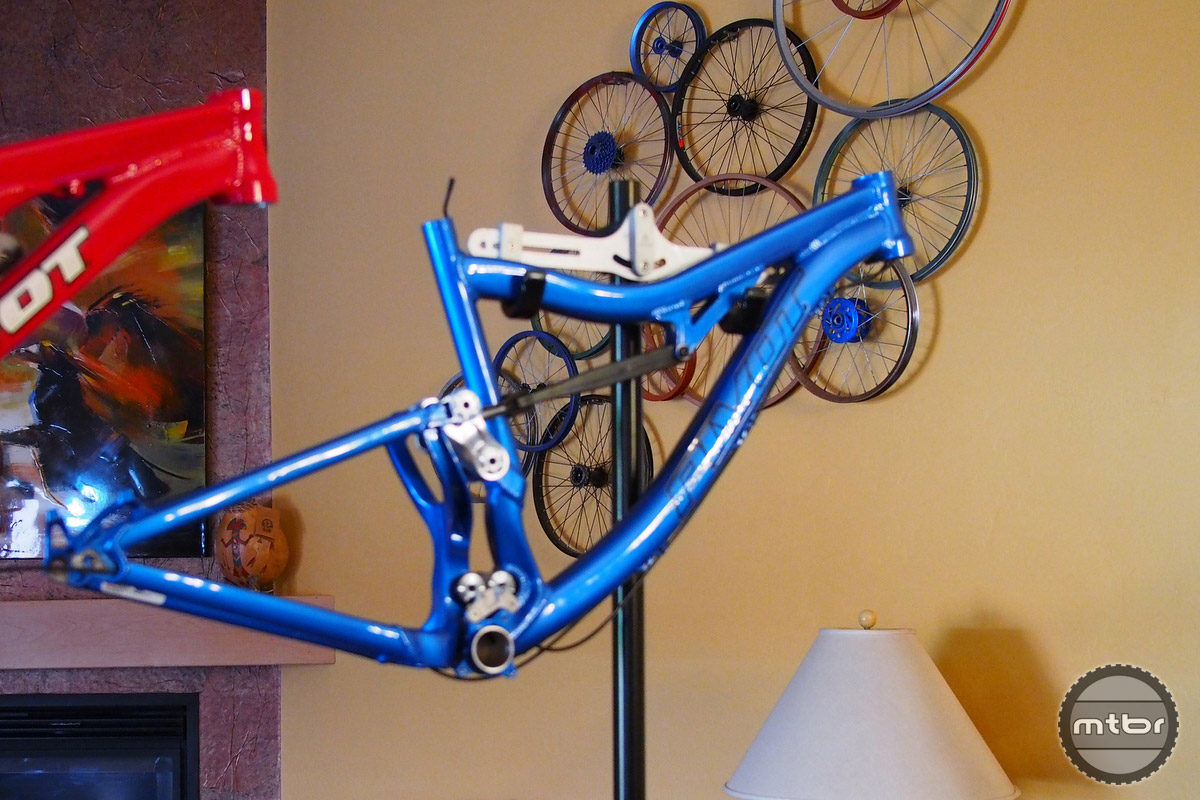 The blue prototype accommodated Boost, wider rims and the new style front derailleur.