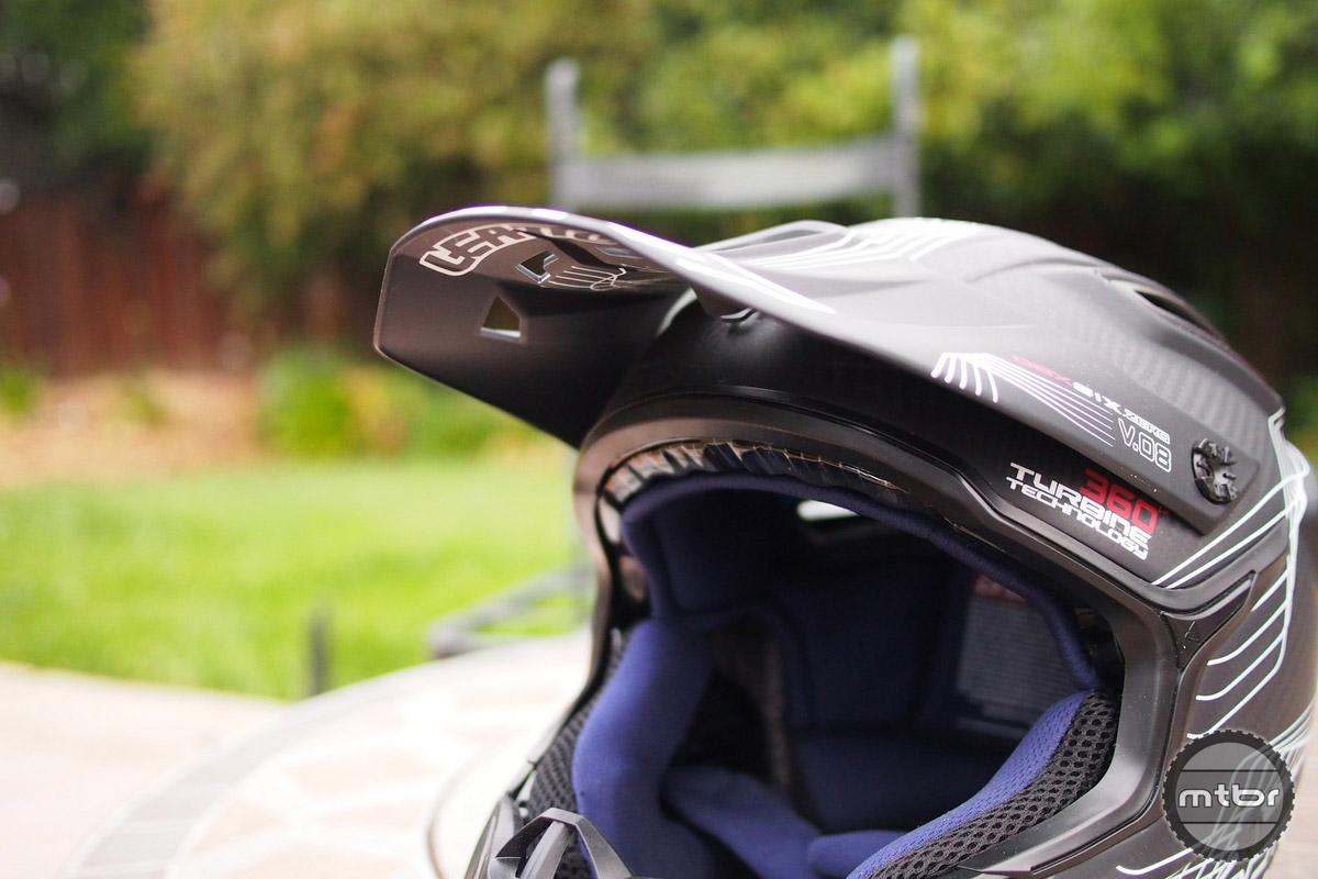 Leatt DBX 6.0 visor in the down position.