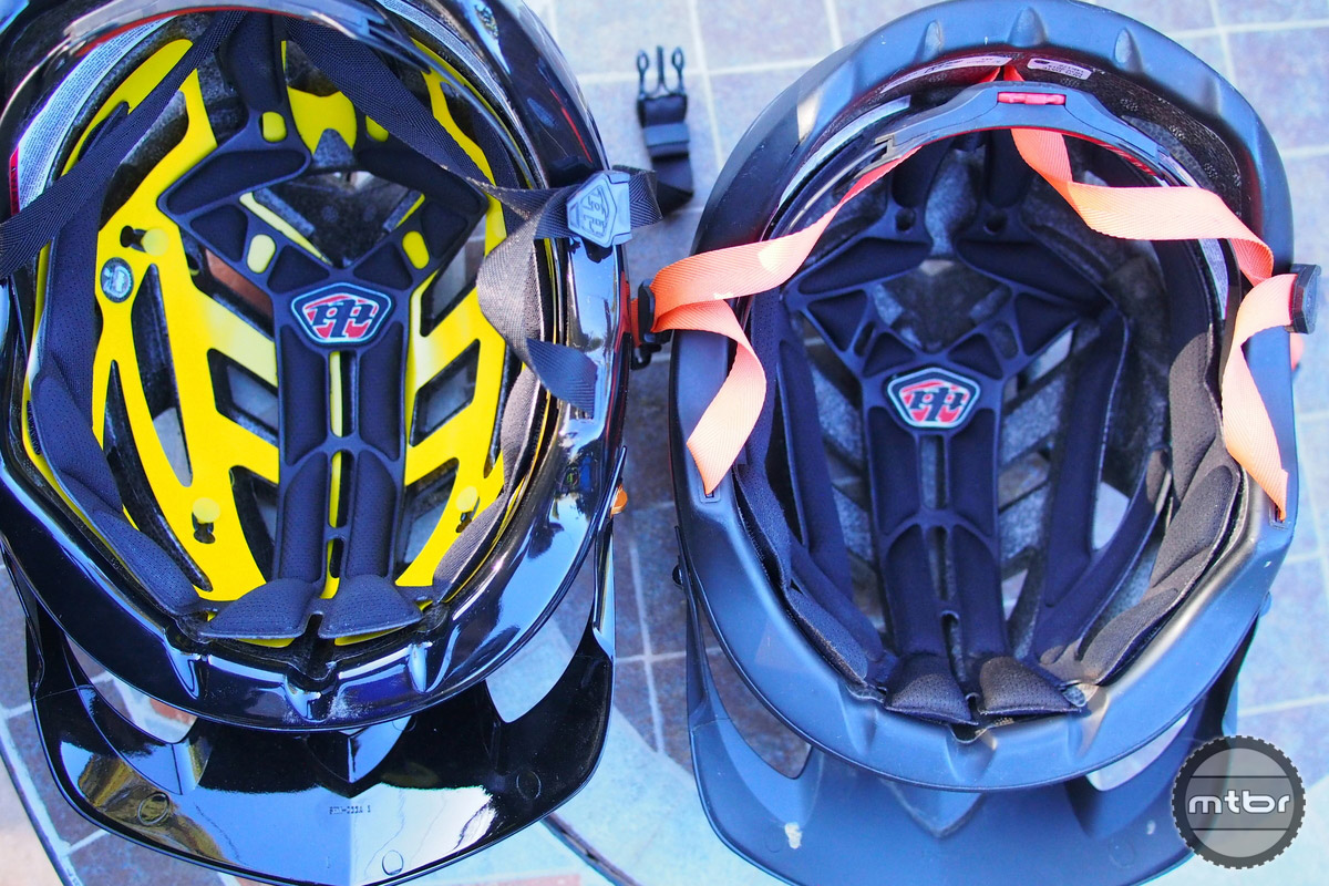 Troy Lee A1 MIPS version has less liner material compared to the old non MIPS model on the right.