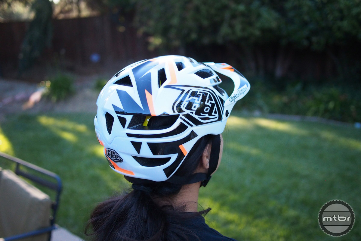 Troy Lee A1 MIPS rear view in white.