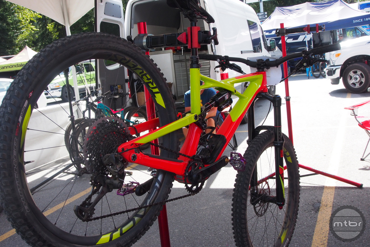 This is a very loud yelllow and red color combination on Hannah Barnes' carbon race bike. We're confident there will be other colors available.