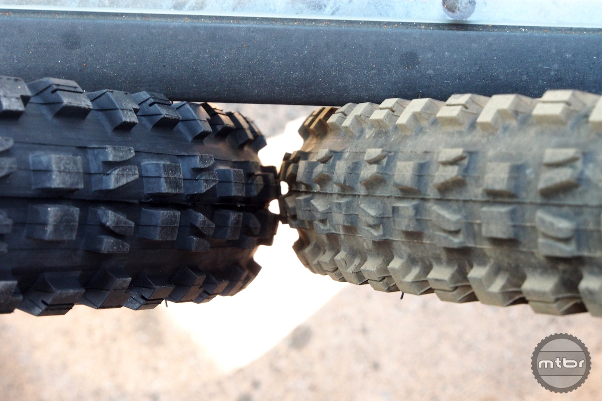 The Maxxis MInion 27.5x2.8  is seen here with the 29x2.3 on the right.