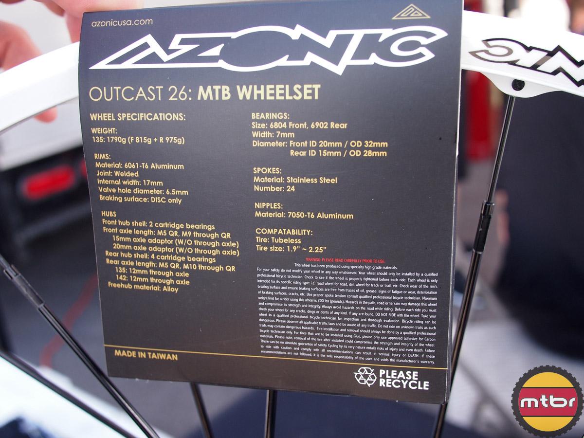 Azonic Outcast 26 MTB Wheelset - specs