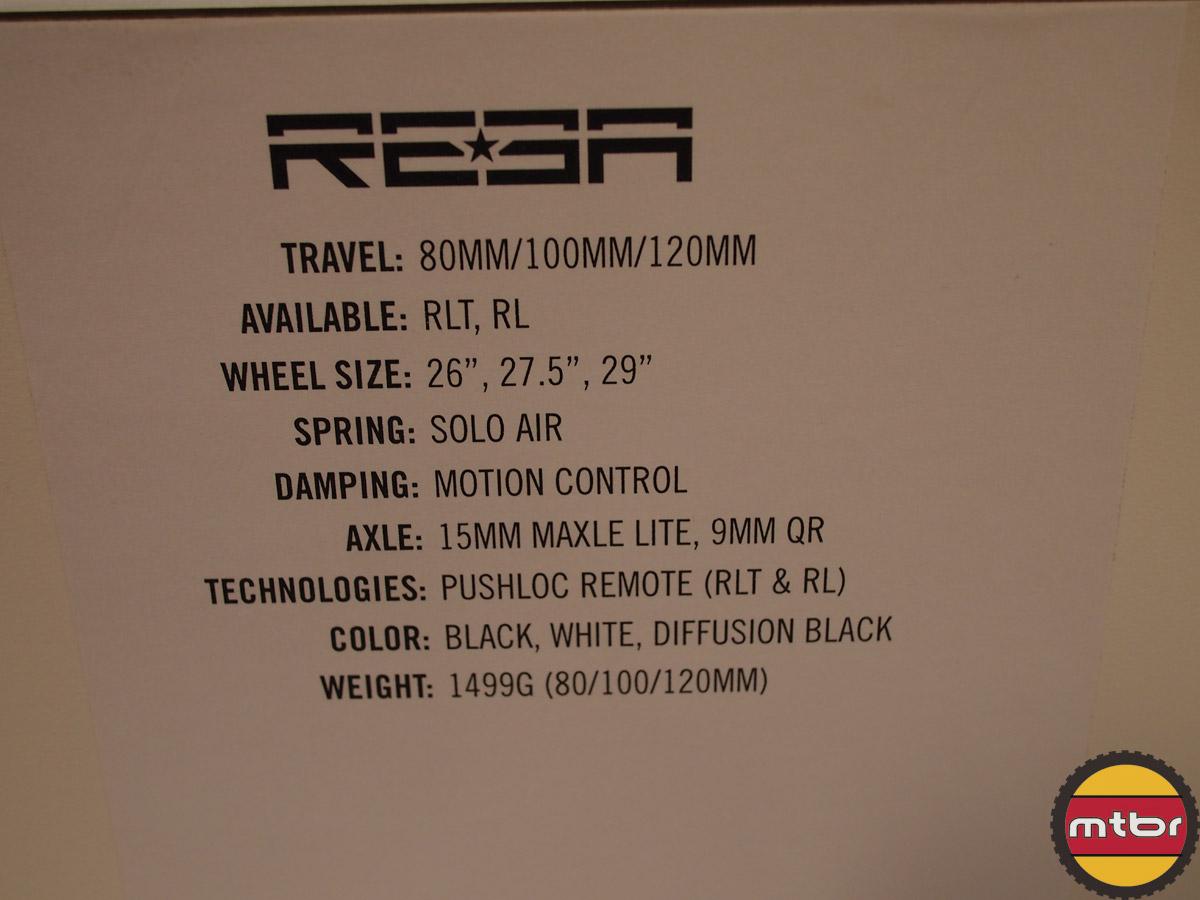 Rock Shox Reba - specs