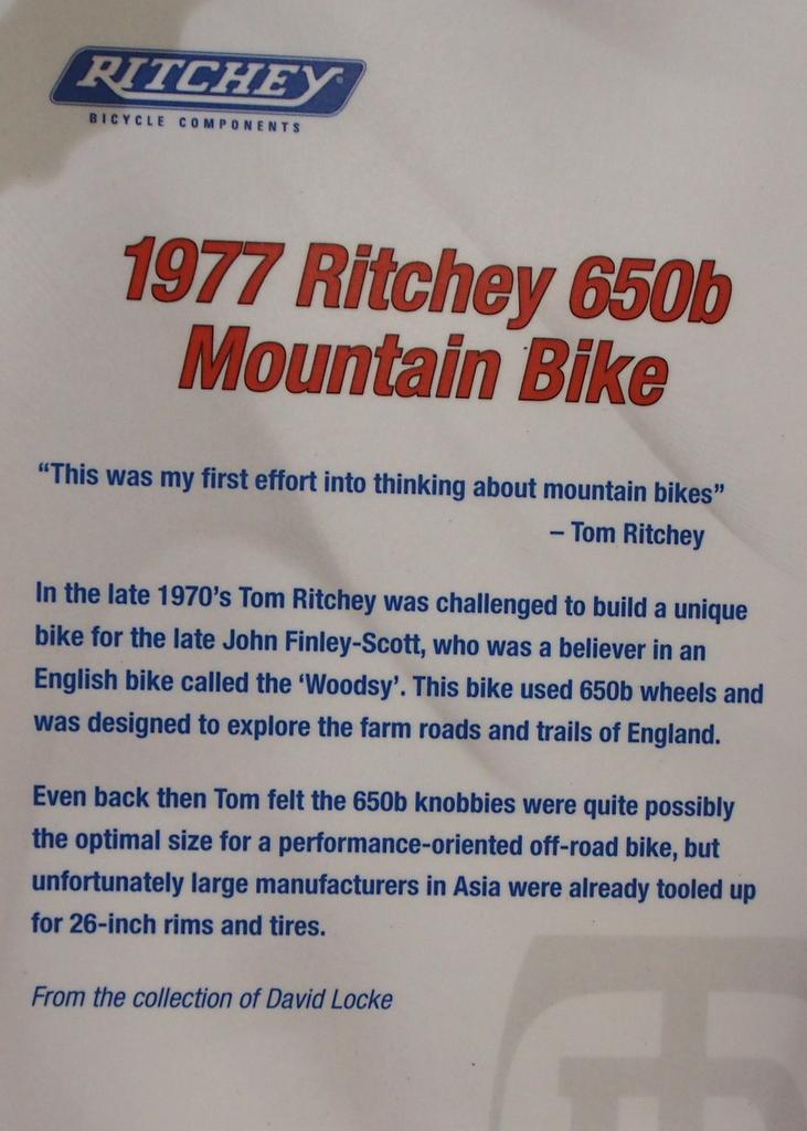 1977 Ritchey 650b details