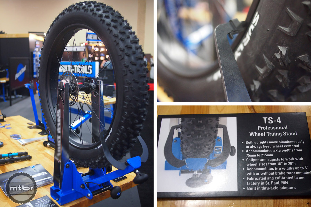 The Park Tool TS-4 is a truing stand designed to have plenty of clearance for fat bike and plus bike wheels.