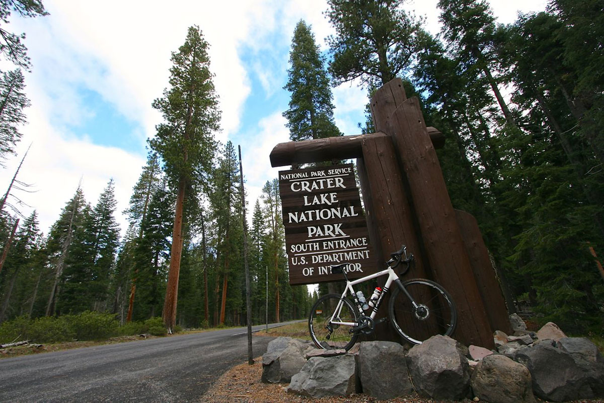 For a 70-mile ride with more than 6,500 feet of climbing, start at the south entrance of Crater Lake National Park.
