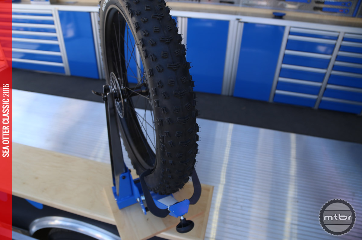 The new truing stand from Park Tool will accommodate thru axles without adapters.
