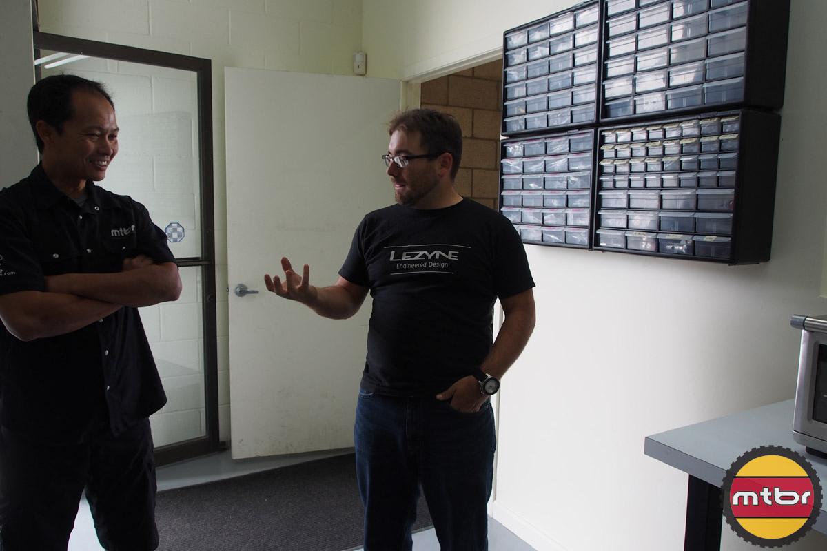 Patrick explains the testing facility