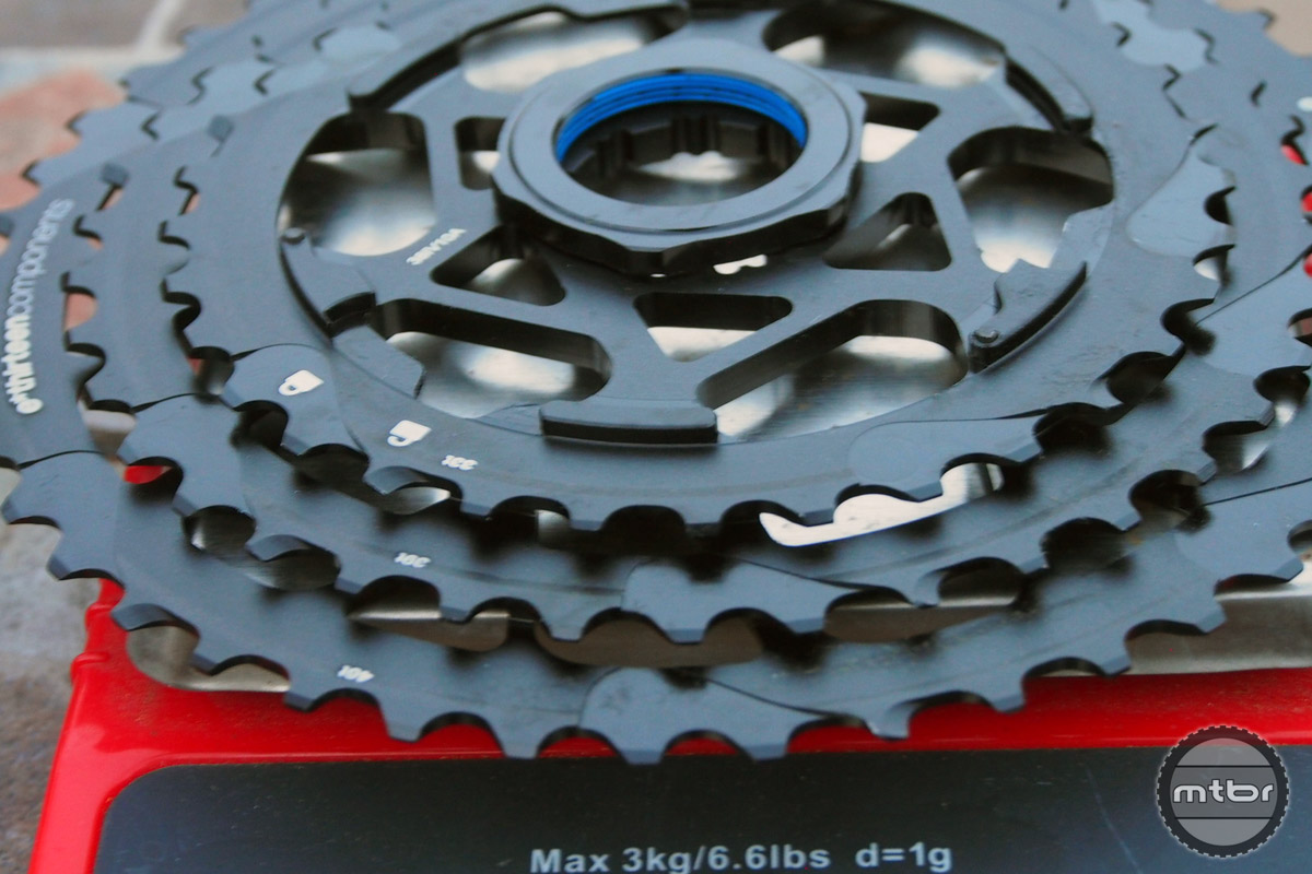 The three big cogs are 33-39 and 46 tooth.