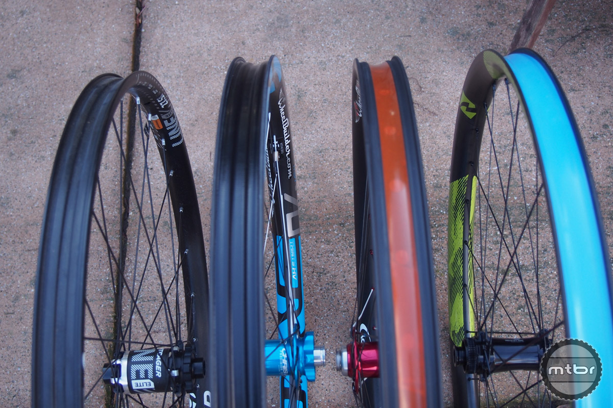 Reynolds 27.5 Enduro is on the right compared to Bontrager, Enve, Derby rims.