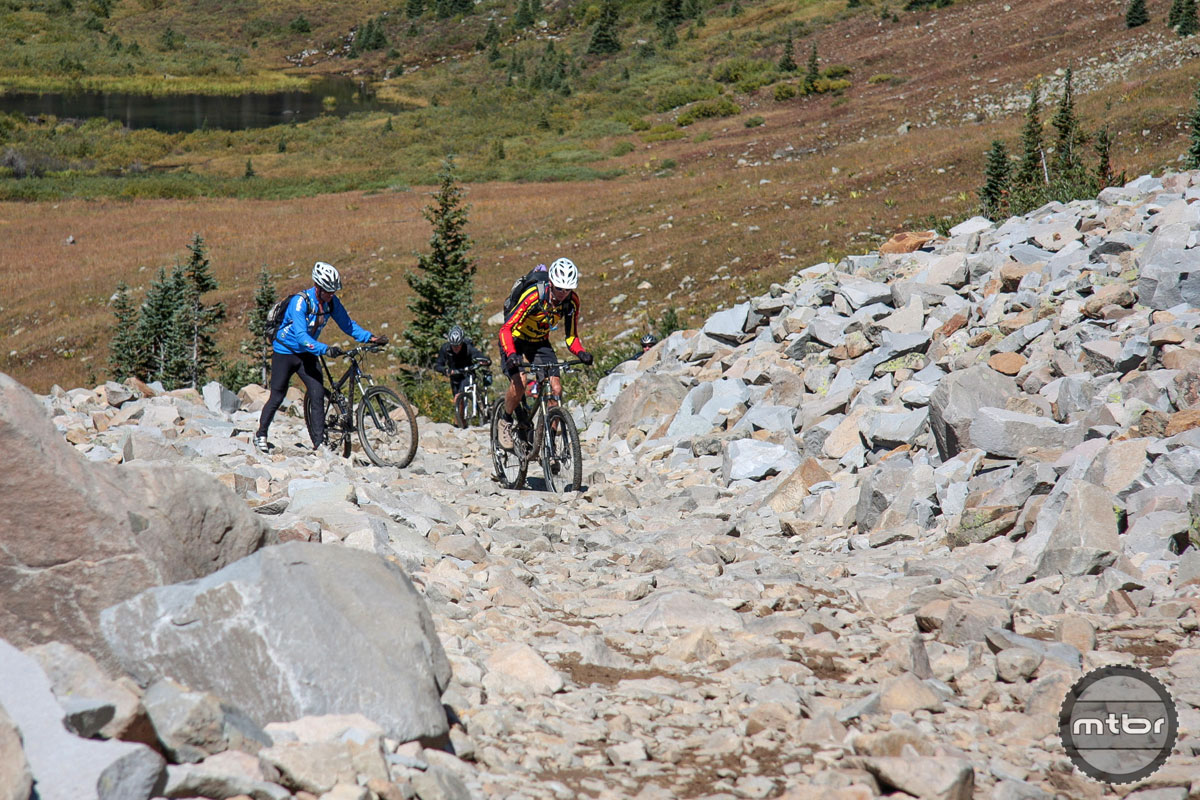 Event co-organizer Don Cook (foreground) remains one of the area's most accomplished riders. But no, even he did not clear this boulder field.